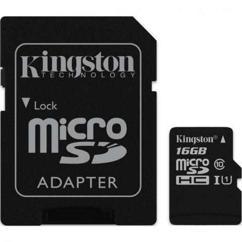 Kingston micro SDHC 16Gb Class 10 UHS-I + ADP карта памяти (45/10 Mb/s)