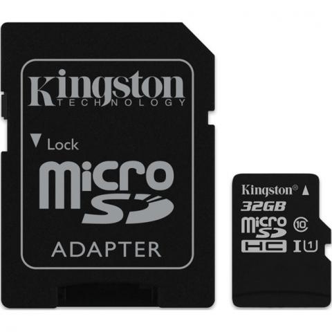 Kingston micro SDHC 32Gb Class 10 UHS-I + ADP карта памяти (45/10 Mb/s)