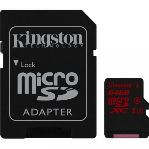 Kingston micro SDXC 64Gb Class 10 UHS-I U3 + ADP карта памяти (90/80 Mb/s)